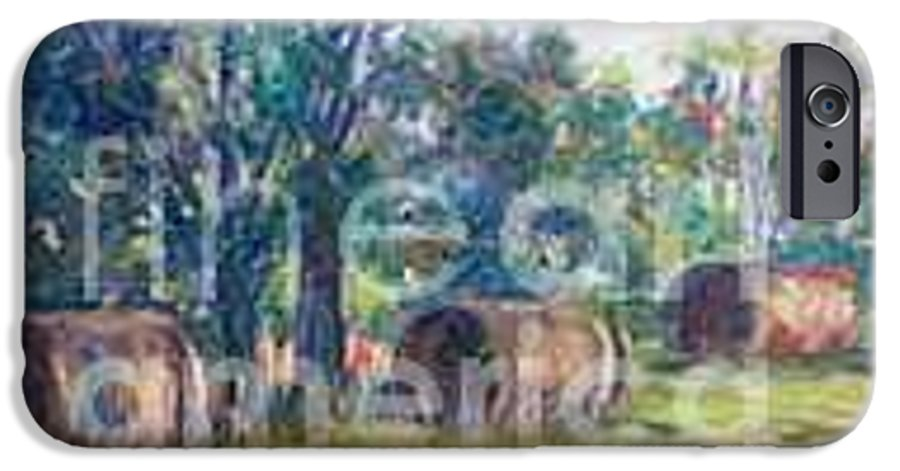 Landscape IPhone 6 Case featuring the painting Summer Idyll by Jan Bennicoff