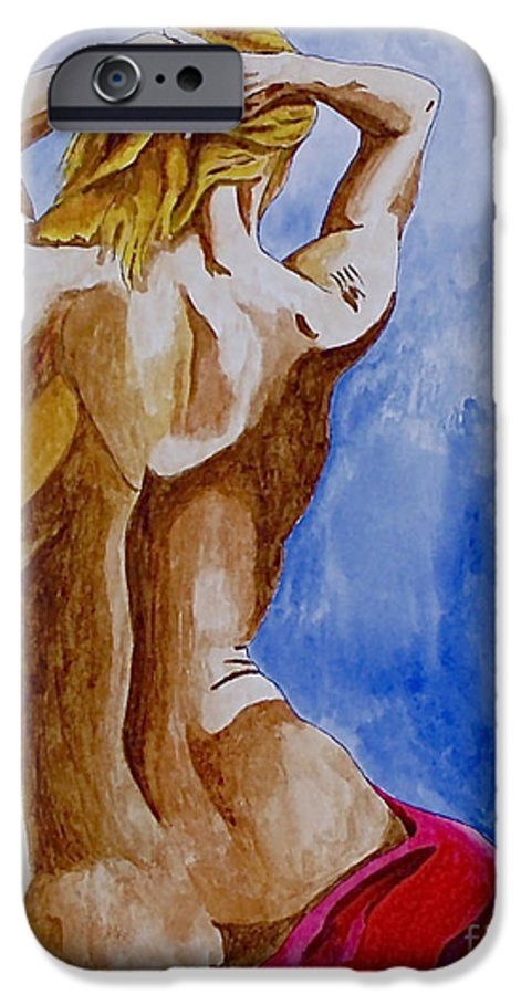 Nude By Herschel Fall Very Hot Nude IPhone 6 Case featuring the painting Summer Morning by Herschel Fall