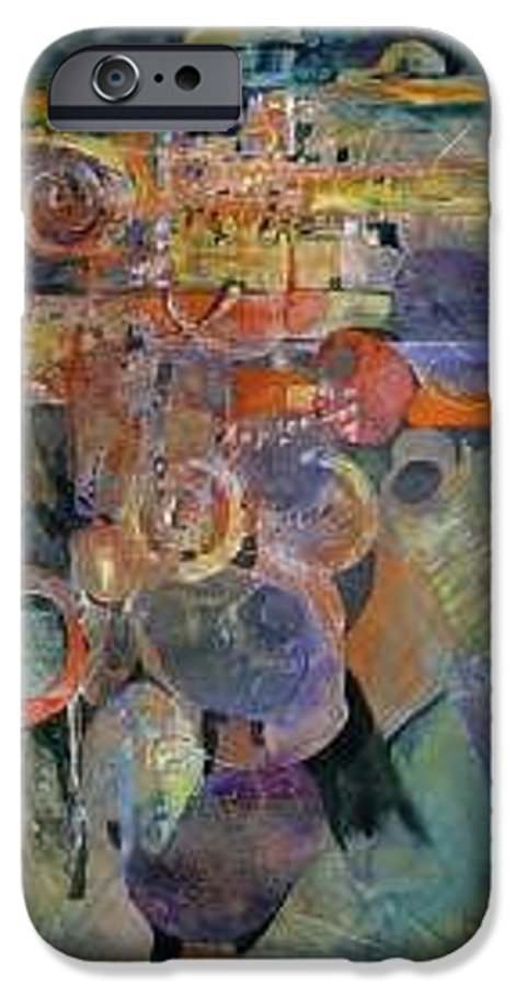 Abstract Shapes IPhone 6 Case featuring the painting Summer Night City Uneartherd by Marlene Gremillion