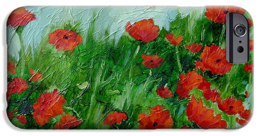 Red Poppies IPhone 6 Case featuring the painting Summer Poppies by Ginger Concepcion