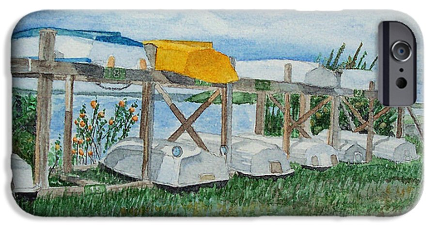 Rowboats IPhone 6 Case featuring the painting Summer Row Boats by Dominic White