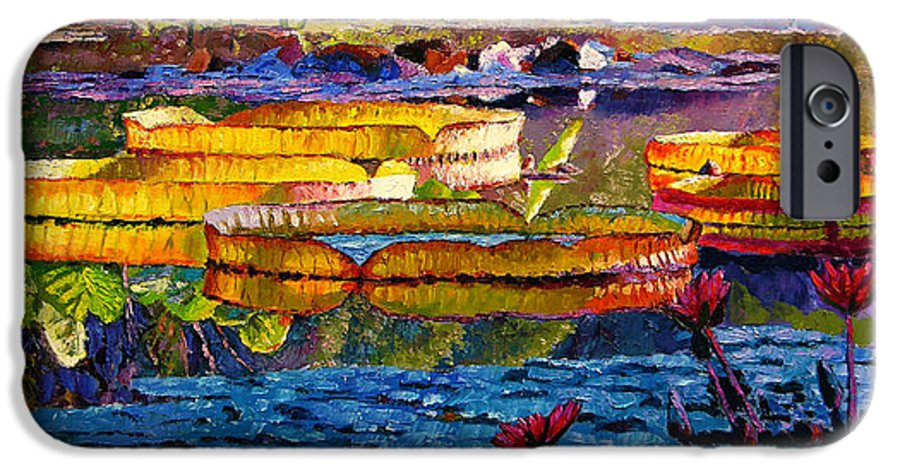 Water Lilies IPhone 6 Case featuring the painting Sun Color And Paint by John Lautermilch