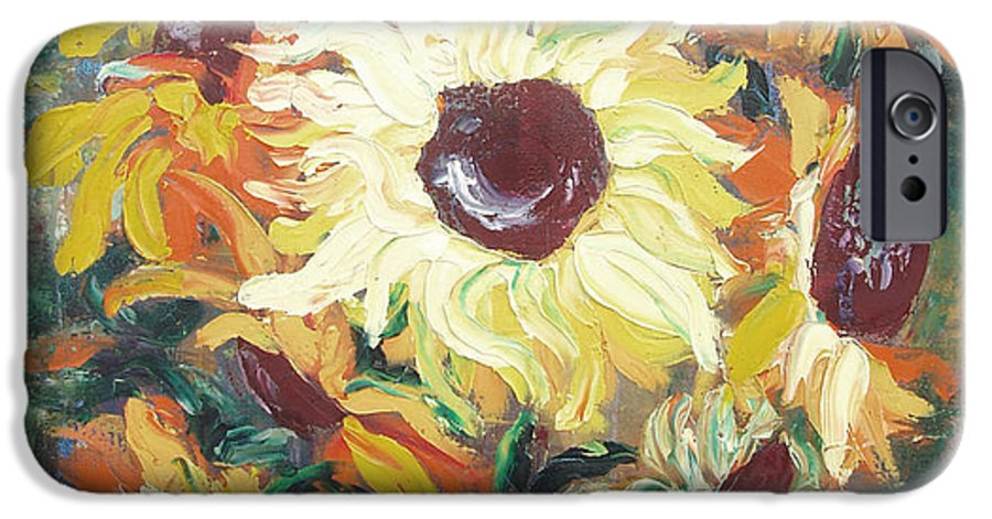 Sunflowers IPhone 6 Case featuring the painting Sun In A Vase by Gina De Gorna