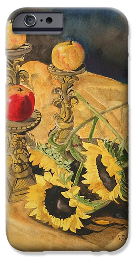 Still Life IPhone 6 Case featuring the painting Sunflowers And Apples by Jean Blackmer