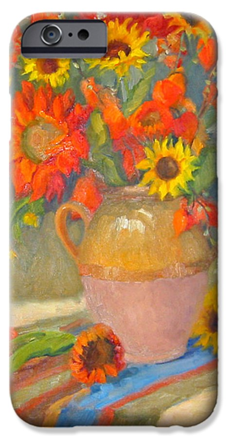 Sunflowers IPhone 6 Case featuring the painting Sunflowers And More by Bunny Oliver