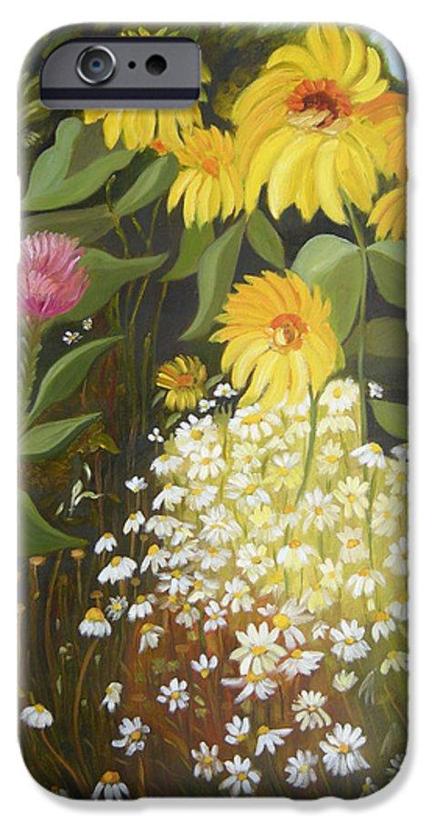 Landskape IPhone 6 Case featuring the painting Sunflowers by Antoaneta Melnikova- Hillman