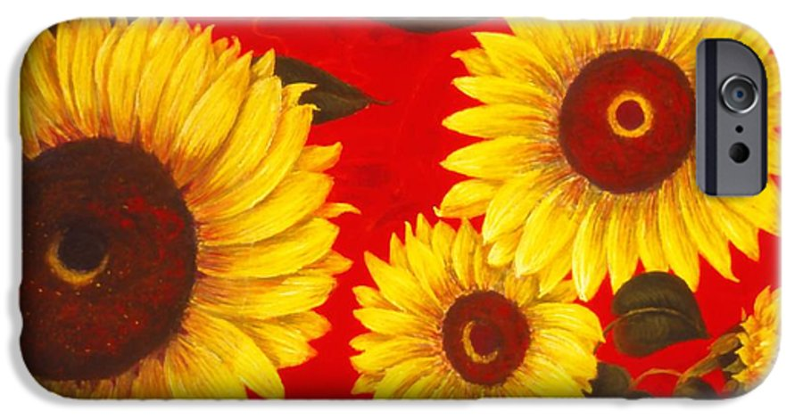 Flowers IPhone 6 Case featuring the painting Sunflowers IIi by Mary Erbert