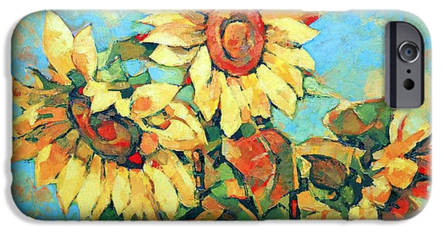 Sunflowers IPhone 6 Case featuring the painting Sunflowers by Iliyan Bozhanov
