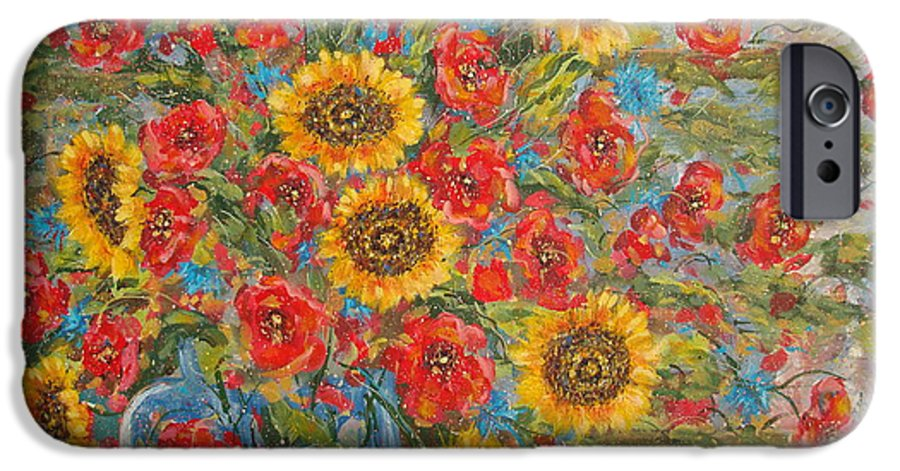 Flowers IPhone 6 Case featuring the painting Sunflowers In Blue Pitcher. by Leonard Holland