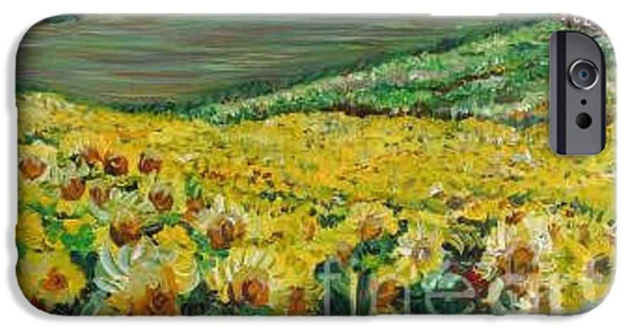 A Field Of Yellow Sunflowers IPhone 6 Case featuring the painting Sunflowers In Provence by Nadine Rippelmeyer