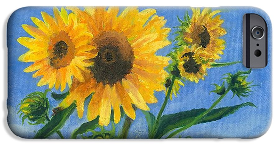Flowers IPhone 6 Case featuring the painting Sunflowers On Bauer Farm by Paula Emery