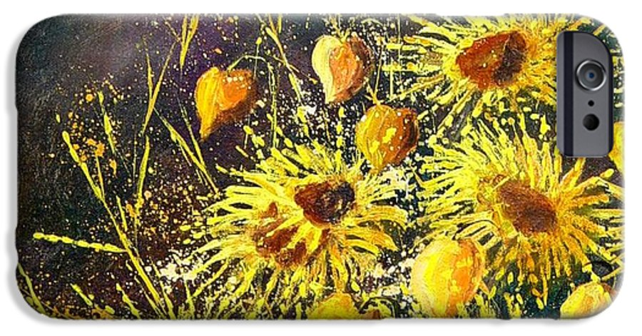 Flowers IPhone 6 Case featuring the painting Sunflowers by Pol Ledent