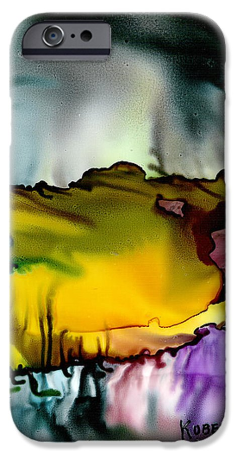 Abstract IPhone 6 Case featuring the mixed media Sunless Sea by Susan Kubes