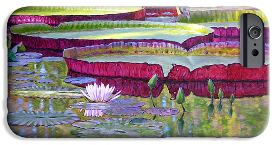 Lily Pond IPhone 6 Case featuring the painting Sunlight On Lily Pads by John Lautermilch