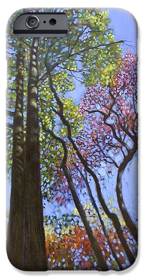 Fall Trees Highlighted By The Sun IPhone 6 Case featuring the painting Sunlight On Upper Branches by John Lautermilch