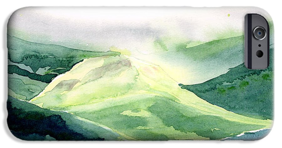 Landscape IPhone 6 Case featuring the painting Sunlit Mountain by Anil Nene