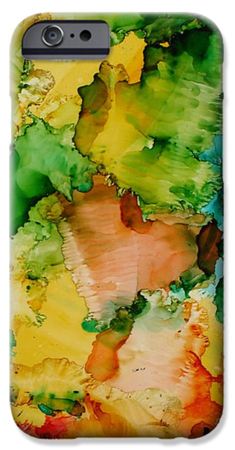 Abstract IPhone 6 Case featuring the painting Sunlit Reef by Susan Kubes