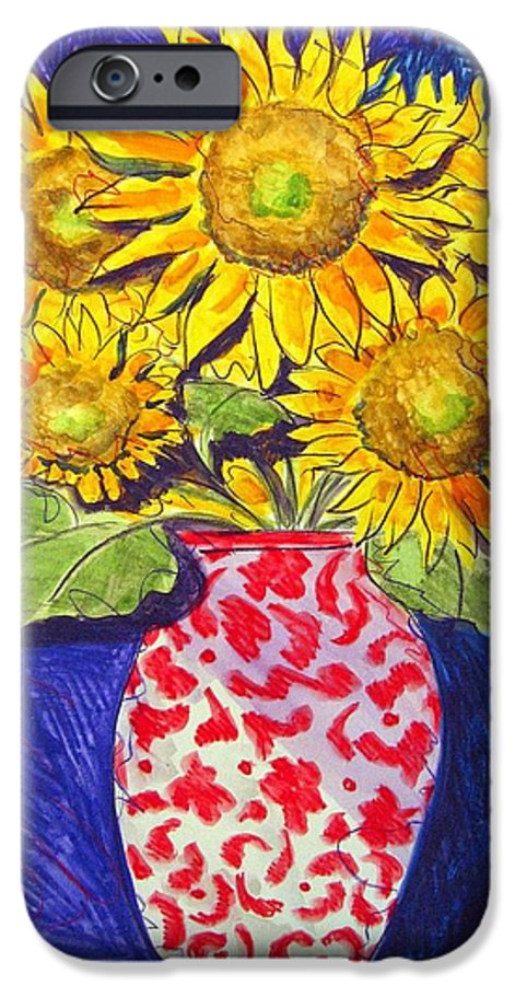 Sunflower IPhone 6 Case featuring the painting Sunny Disposition by Jean Blackmer