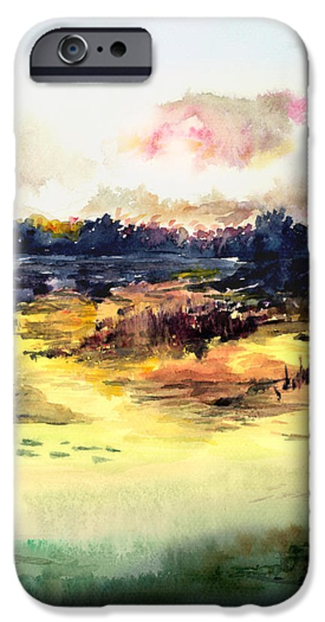 Landscape Water Color Sky Sunrise Water Watercolor Digital Mixed Media IPhone 6 Case featuring the painting Sunrise by Anil Nene