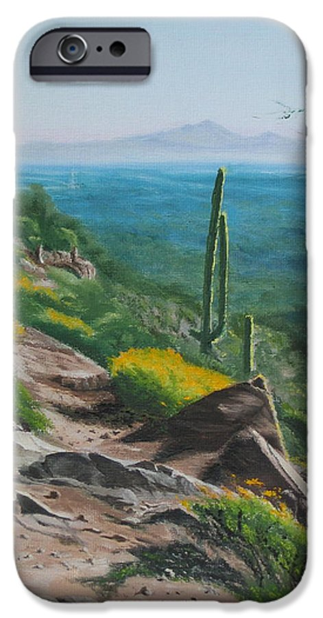 Landscape IPhone 6 Case featuring the painting Sunrise Trail by Lea Novak