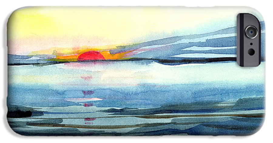 Landscape Seascape Ocean Water Watercolor Sunset IPhone 6 Case featuring the painting Sunset by Anil Nene