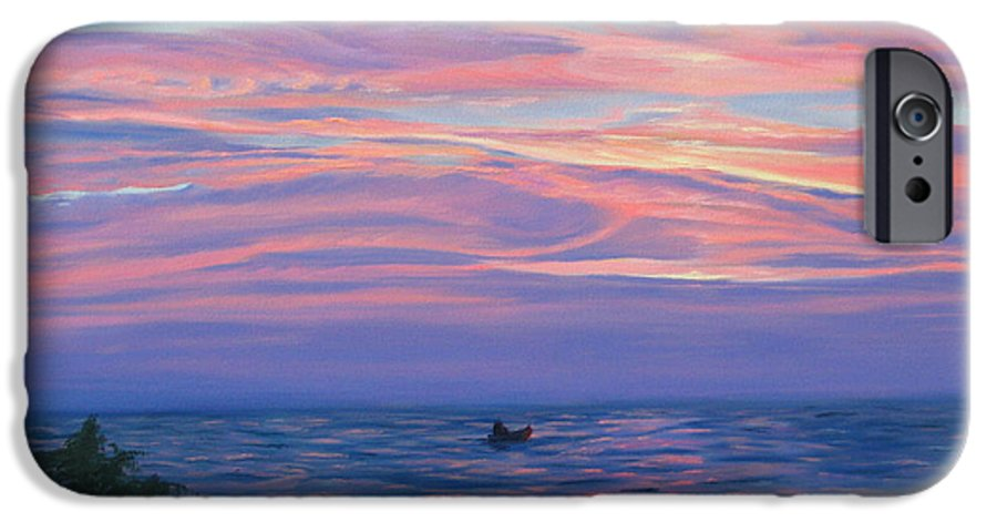 Seascape IPhone 6 Case featuring the painting Sunset Bay by Lea Novak