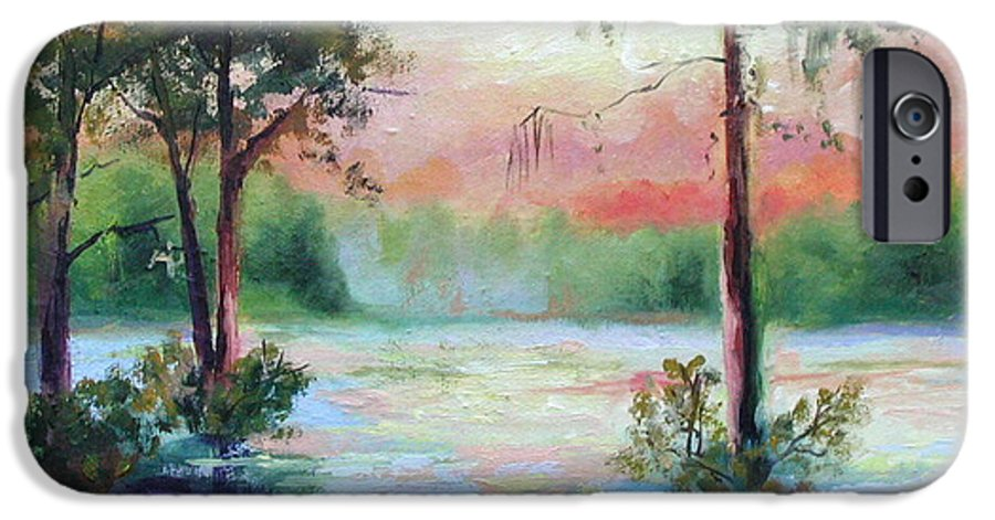 Sunset IPhone 6 Case featuring the painting Sunset Bayou by Ginger Concepcion