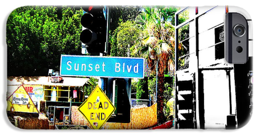 Stoplight On Sunset Blvd IPhone 6 Case featuring the digital art Sunset Blvd by Maria Kobalyan