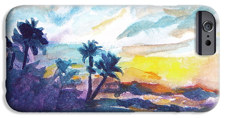 Landscape IPhone 6 Case featuring the painting Sunset In Hawaii by Jan Bennicoff