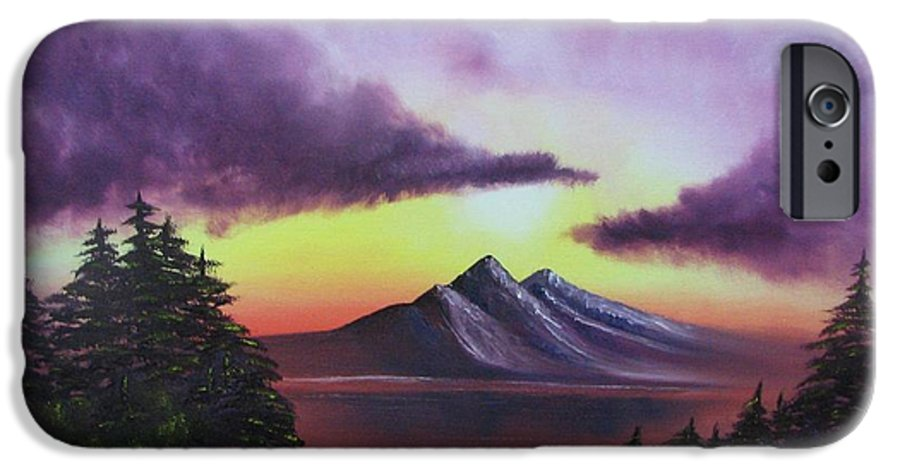 Sunset IPhone 6 Case featuring the painting Sunset In Mountains Original Oil Painting by Natalja Picugina