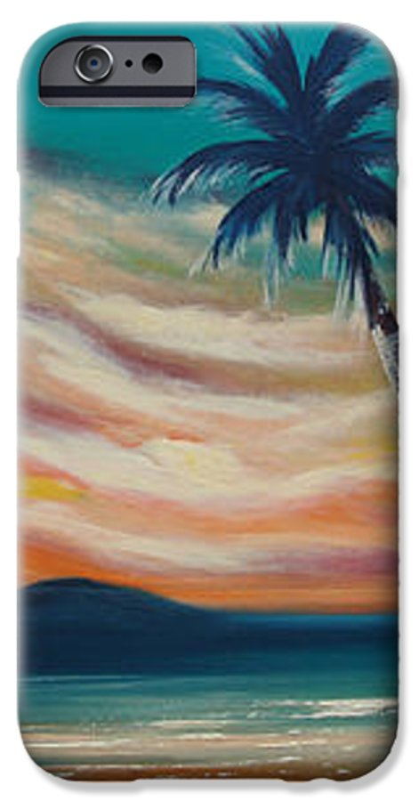 Sunset IPhone 6 Case featuring the painting Sunset In Paradise by Gina De Gorna