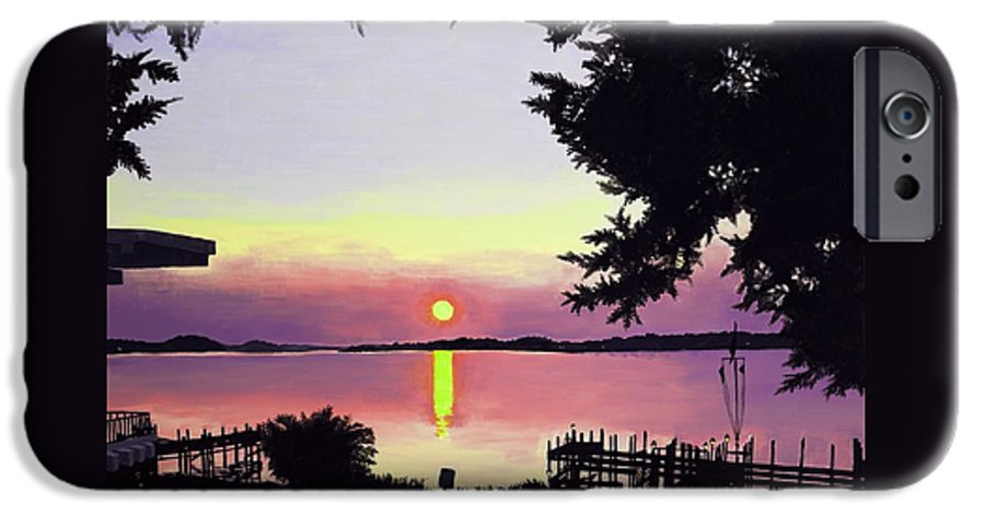 Sunset On Lake IPhone 6 Case featuring the painting Sunset On Lake Dora by Judy Swerlick