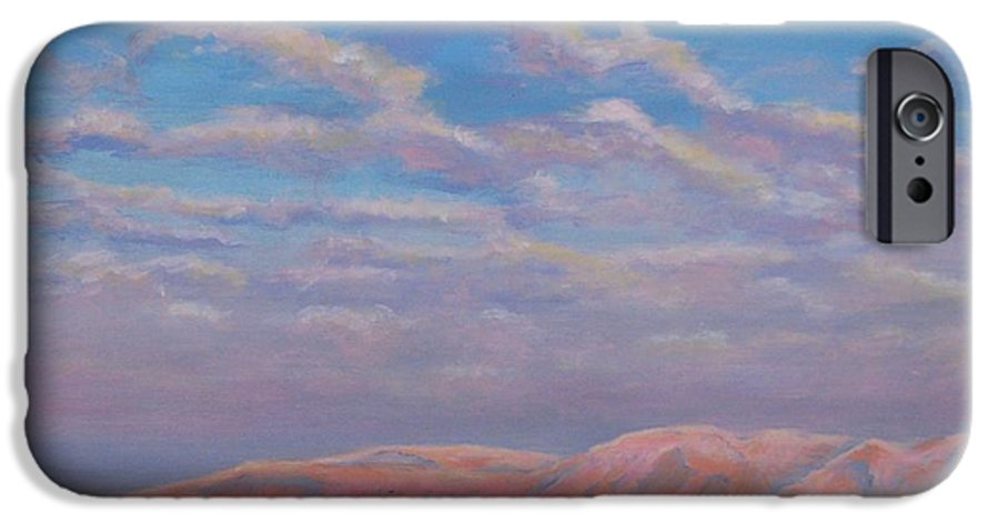 Sunset IPhone 6 Case featuring the painting Sunset On The Dead Sea In Israel by Art Nomad Sandra Hansen