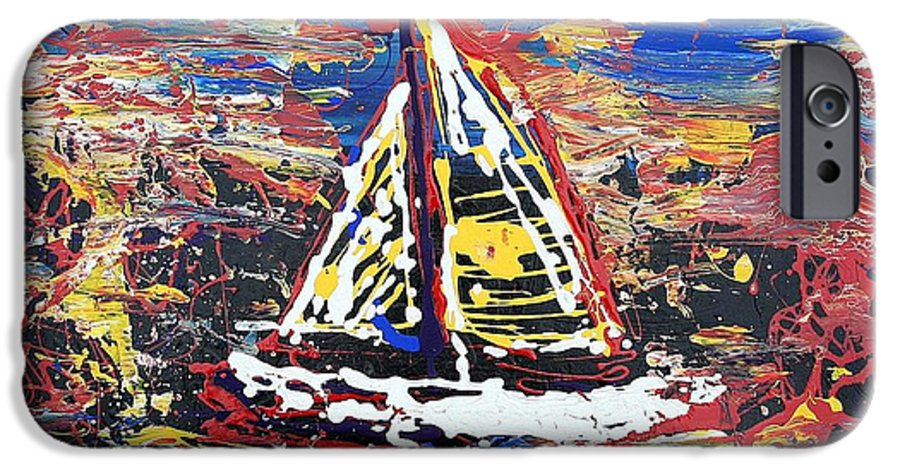 Sailboat IPhone 6 Case featuring the painting Sunset On The Lake by J R Seymour