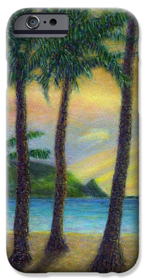 Rainbow Colors Pastel IPhone 6 Case featuring the painting Sunset Palms by Kenneth Grzesik