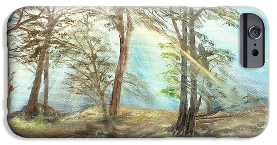 Landscape River Trees Sunshine Reflections IPhone 6 Case featuring the painting Sunshine by Kenneth LePoidevin