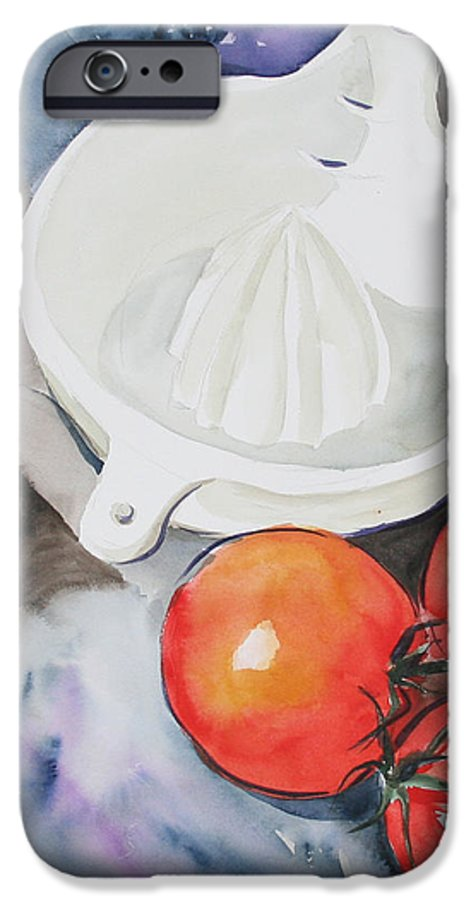 Tomatoes IPhone 6 Case featuring the painting Sunshine On The Vine by Jean Blackmer