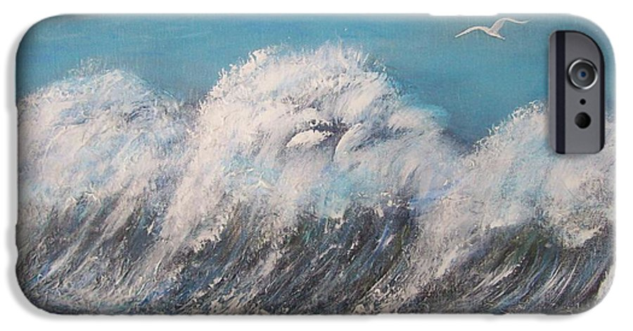 Surreal Tsunami IPhone 6 Case featuring the painting Surreal Tsunami by Tony Rodriguez