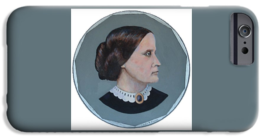 Susan B. Anthony IPhone 6 Case featuring the painting Susan B Anthony Coin by Art Nomad Sandra Hansen