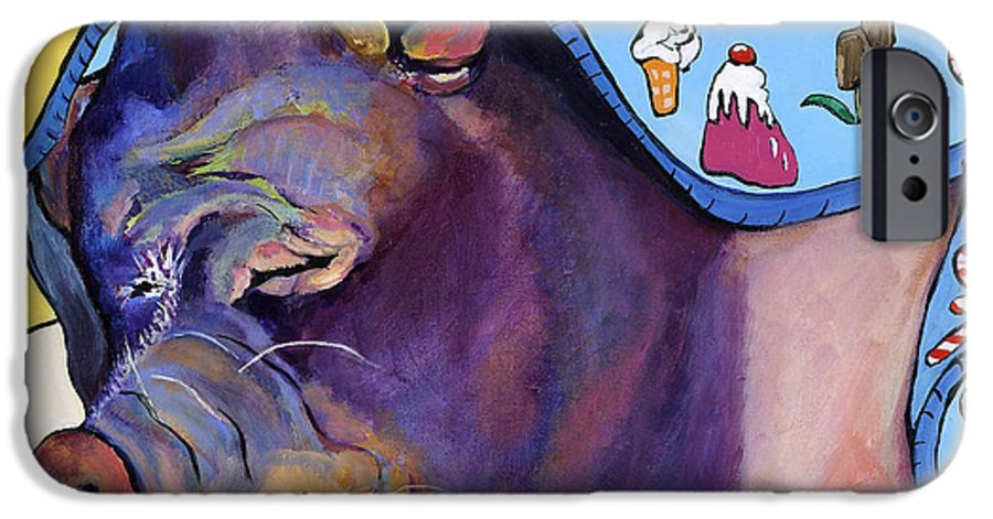 Farm Animal IPhone 6 Case featuring the painting Sweet Dreams by Pat Saunders-White