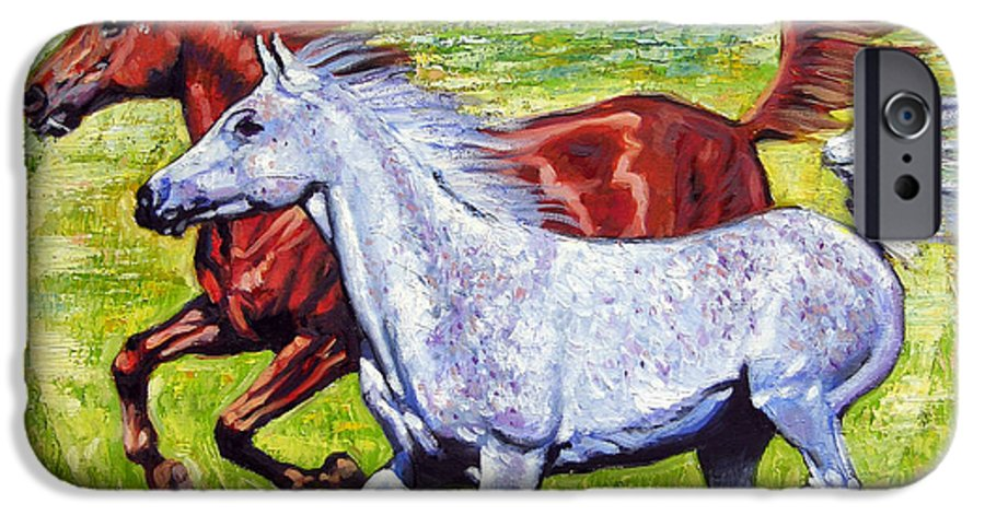 Horses Running IPhone 6 Case featuring the painting Sweet Harmony by John Lautermilch