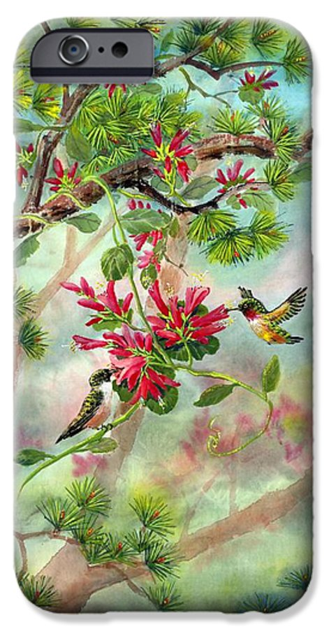 Hummingbirds IPhone 6 Case featuring the painting Sweet Journey by Eileen Fong