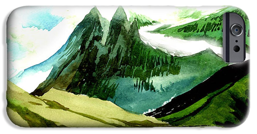 Landscape IPhone 6 Case featuring the painting Switzerland by Anil Nene