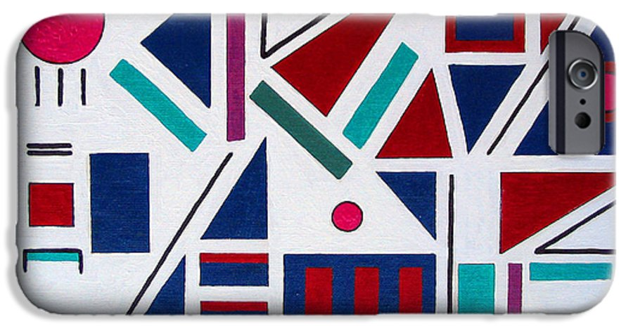 Abstract IPhone 6 Case featuring the painting Symmetry In Blue Or Red by Marco Morales
