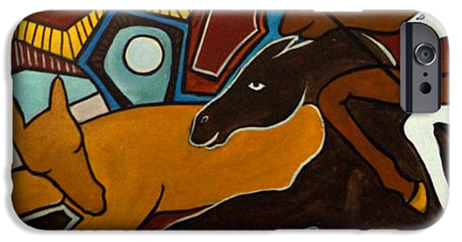 Horse Abstract IPhone 6 Case featuring the painting Taffy Horses by Valerie Vescovi