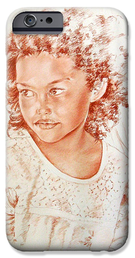Drawing Persons IPhone 6 Case featuring the painting Tahitian Girl by Miki De Goodaboom