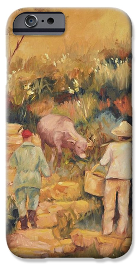 Water Buffalo IPhone 6 Case featuring the painting Taipei Buffalo Herder by Ginger Concepcion
