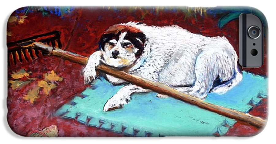 Dog IPhone 6 Case featuring the painting Take A Break by Minaz Jantz