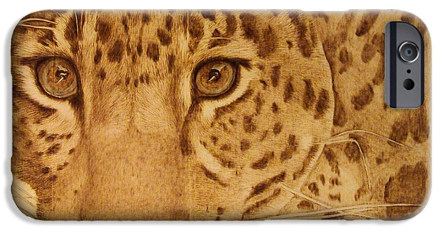 Jaguar; Sepia; Wild Life; Africa; Eyes; Zoo; Cat; IPhone 6 Case featuring the pyrography Take One Step Closer by Jo Schwartz