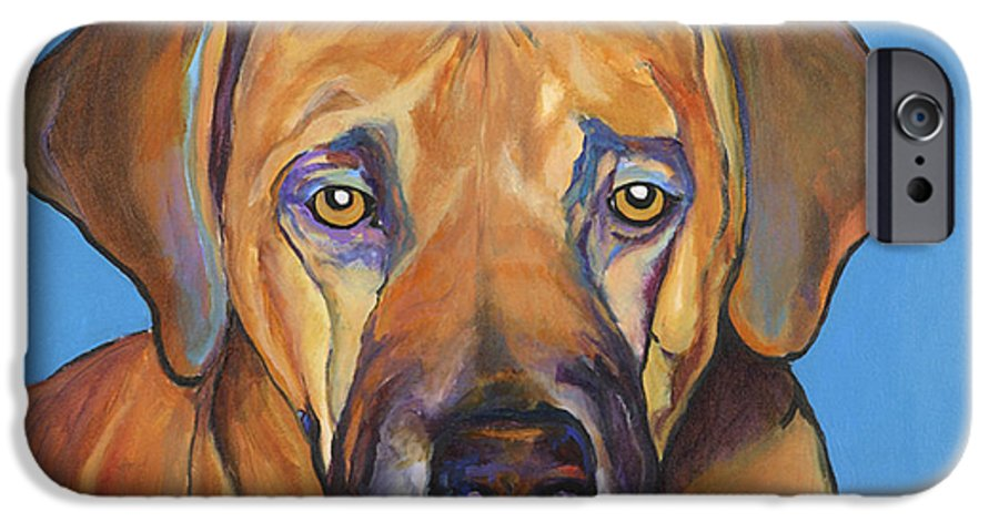 Rhodesian Ridgeback Dog Ridgeback African Colorful Orange Gold Yellow Red IPhone 6 Case featuring the painting Talen by Pat Saunders-White